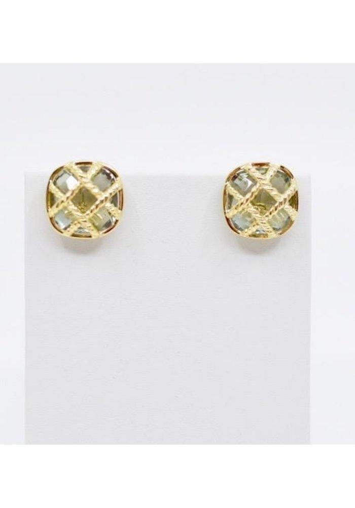 Mazza Green Amethyst 14kt Criss Cross Clip Earring