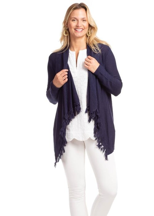 Duffield Lane Ashley Tassel Cardigan in Linen