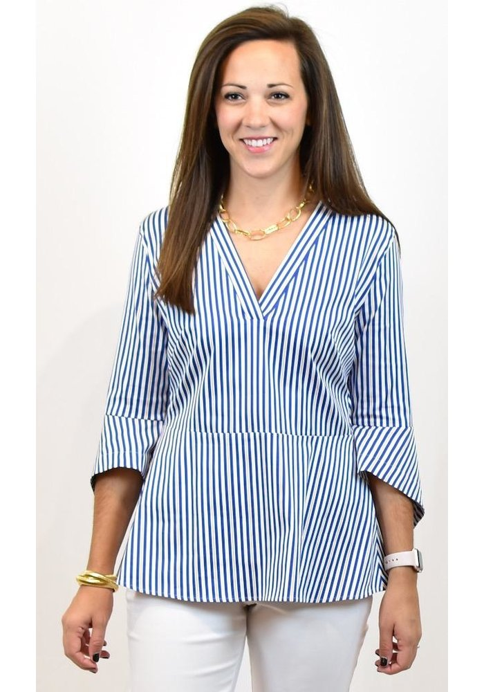Caliban Striped Blouse with 3/4 Flared Sleeve
