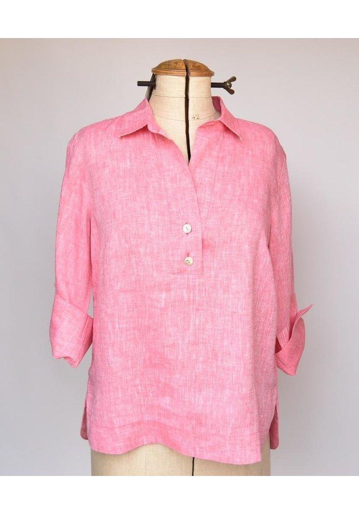 Aileen Shirt 3/4 Sleeve Button Back Linen