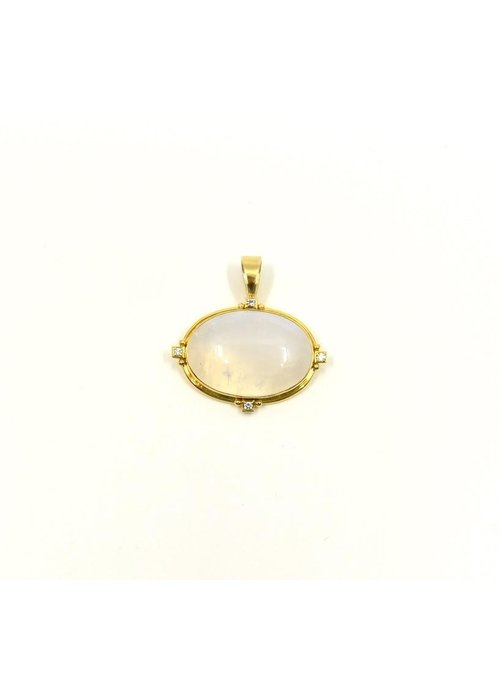 Mazza Pendant with Moonstone Centerpiece in 14k Gold with .12 ct Diamond