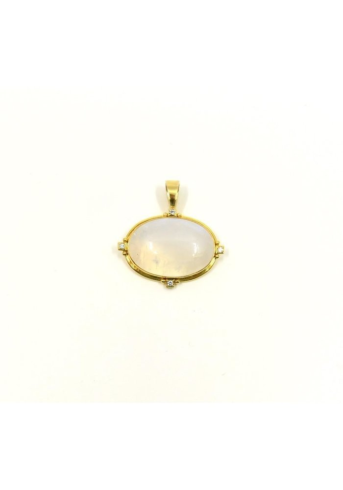 Pendant with Moonstone Centerpiece in 14k Gold with .12 ct Diamond