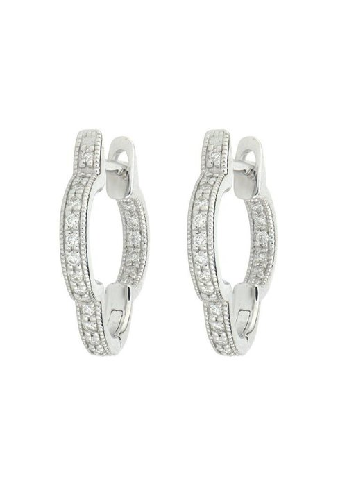 Jude Frances Jude Frances Delicate Small Clover Hoop Earrings 18k White Gold