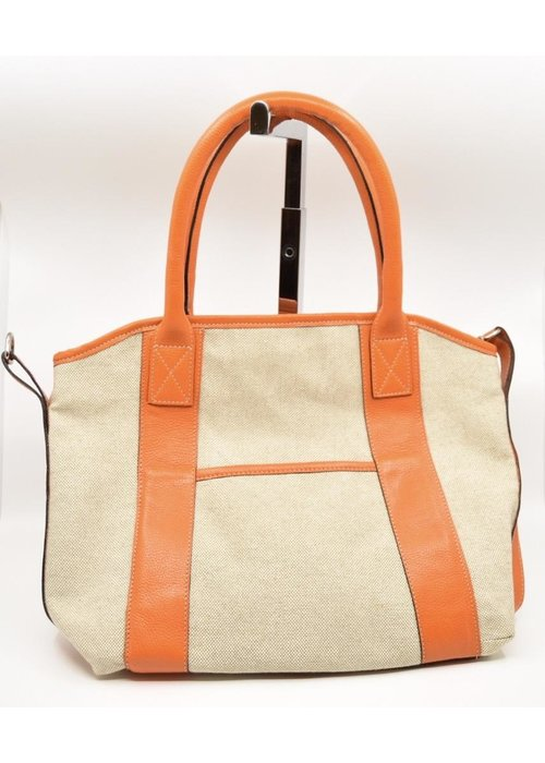 Canary Palm Light Linen with Orange Leather Tote