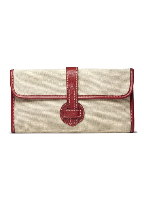 Canary Palm Light linen with red leather clutch