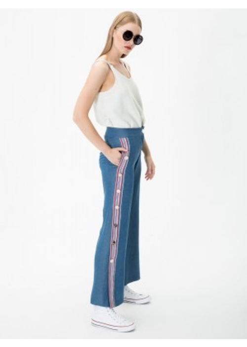Vilagallo Soft Denim Pants with Buttons and Grosgrain Ribbon