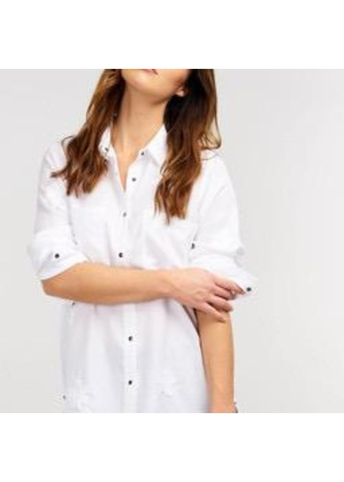 Repeat Cashmere Repeat Shirt with Star Patches in Tencel Fabric