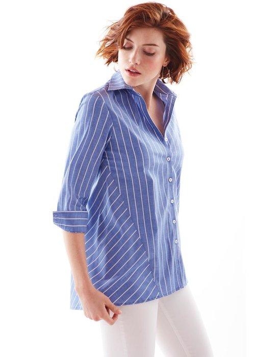 Finley Shirts Reverse Trapeze Shirt Bold Pin Stripe - Blue/White