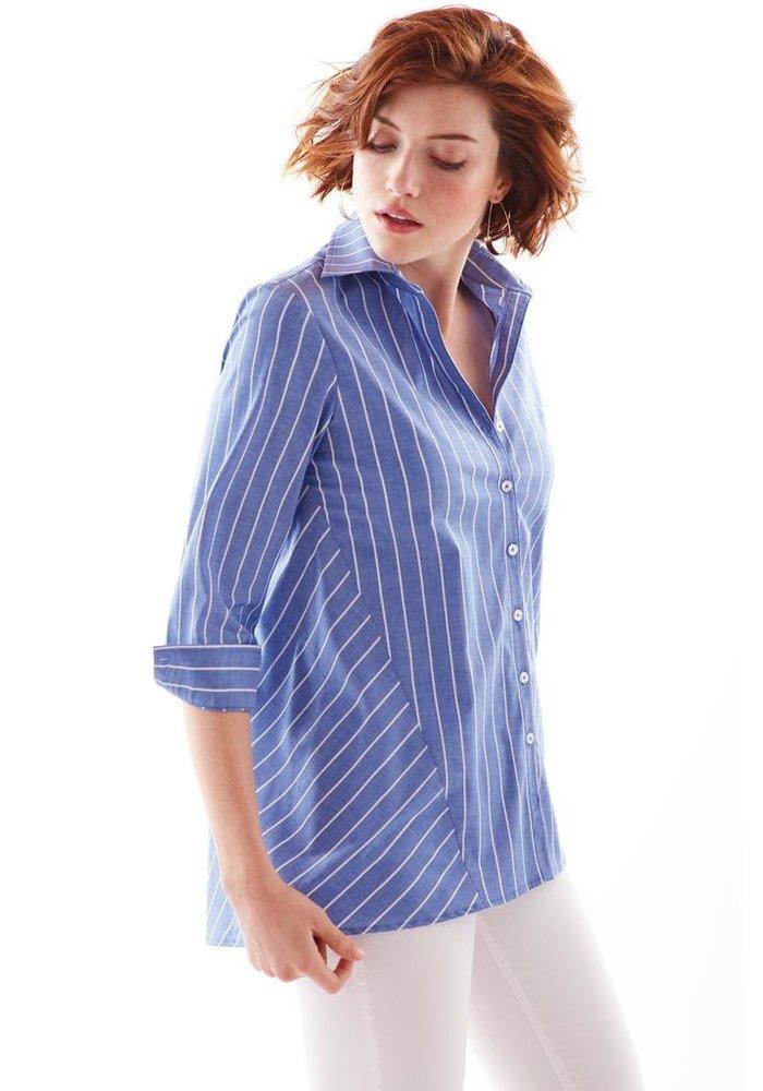 Reverse Trapeze Shirt Bold Pin Stripe - Blue/White