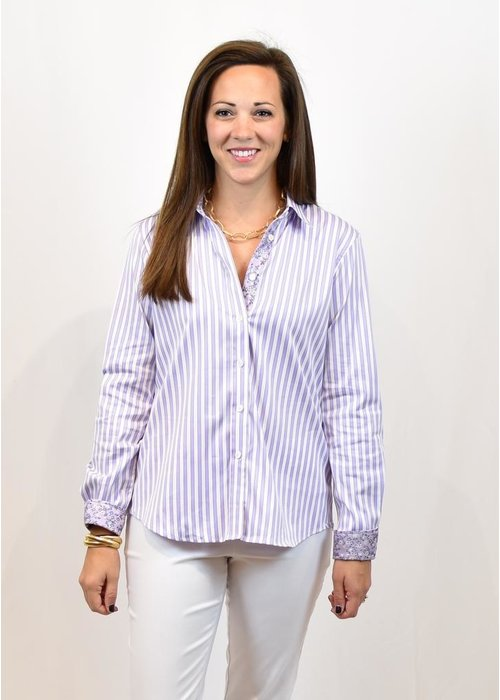 Caliban Caliban Fitted Striped Blouse