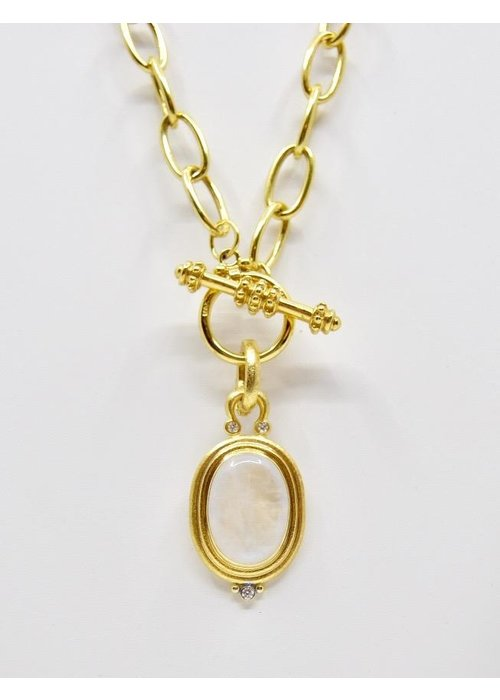 Mazza Pendant with Moonstone set in 14k gold with diamonds -.10ct