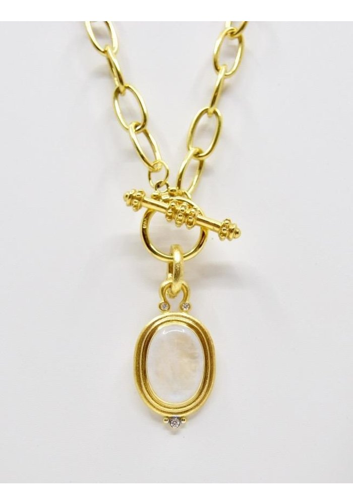 Pendant with Moonstone set in 14k gold with diamonds -.10ct
