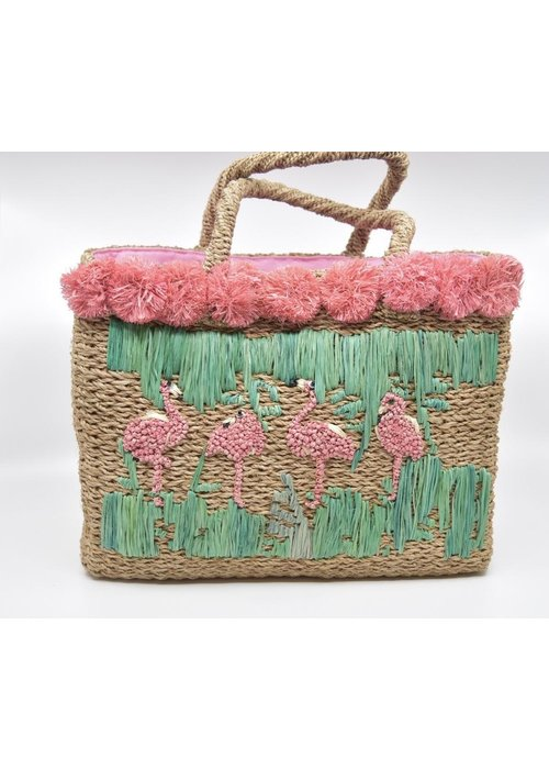 Serpui Serpui Natual Straw Bag with Flamingos