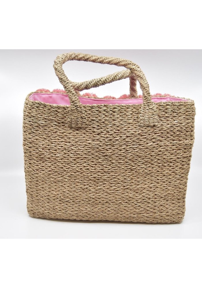 Serpui Natual Straw Bag with Flamingos