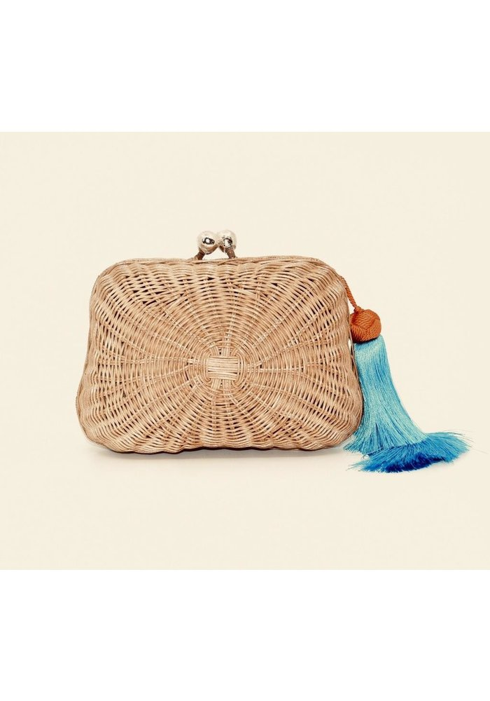 Serpui Natual Clutch with Leather Crossbody Strap and Turquoise and Orange Tassel