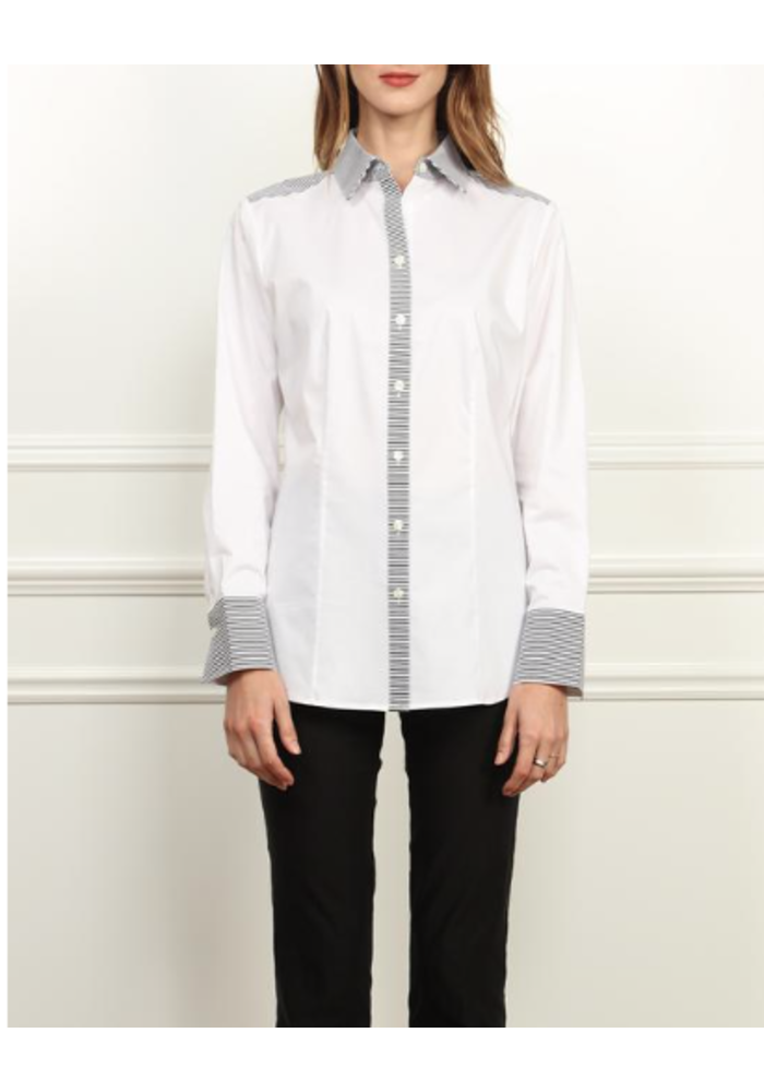 Hinson Wu's Diane Shirt in contrasting white and black patterns