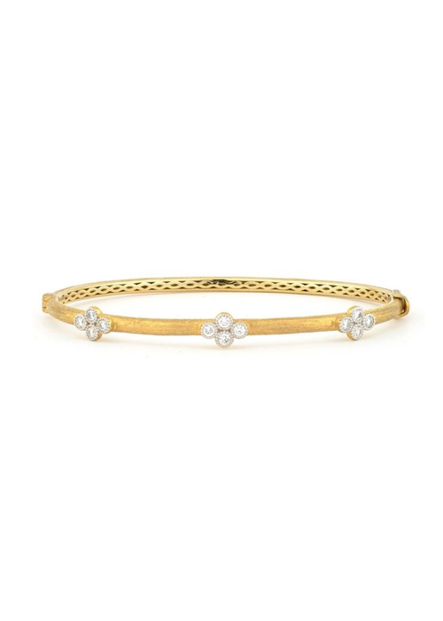 Jude Frances Jude Frances Brushed Provence Bangle with Three Diamond Quads 18k Yellow Gold GSI Dia .38t