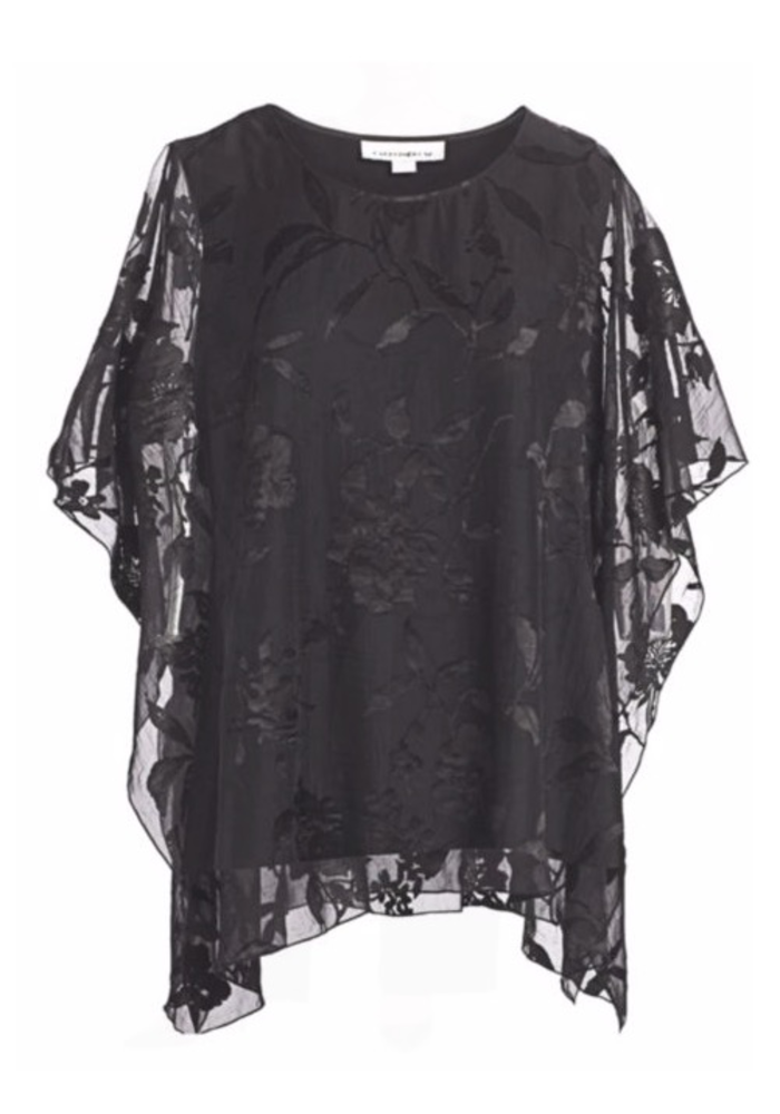 Caroliine Rose Lined Large Floral Lace Caftan - Black