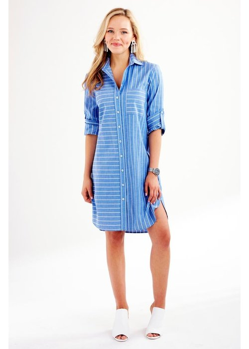 Finley Shirts Finley Parker Short Dress Bold Pin Stripe