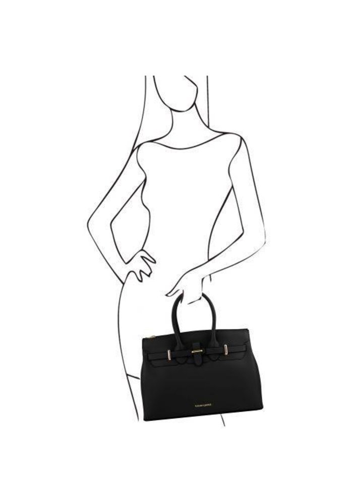Tuscany Leather Elettra Leather Handbag with Golden Hardware