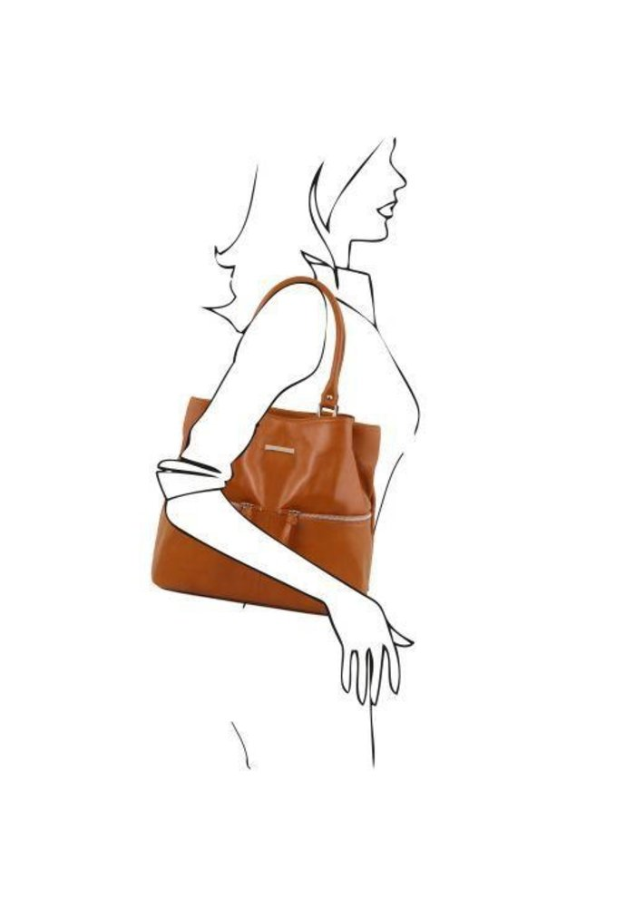 Tuscany Leather Shoulder Bag with Front Pockets