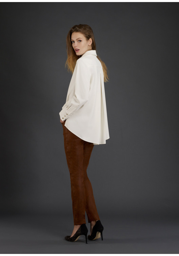 Button Front Blouse with Pleated Longer Back