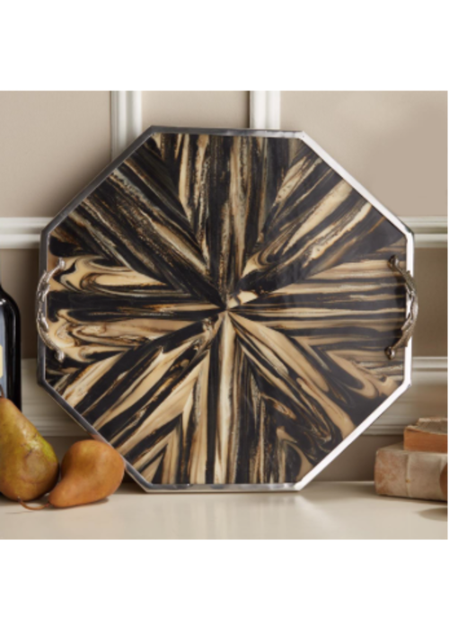 Two's Company Sunburst Hesagon Tray Natural Palette Faux Petrified Wood