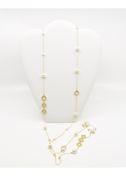 "Be-Je 60"" Gold Tone, Pearl Chain Necklace"