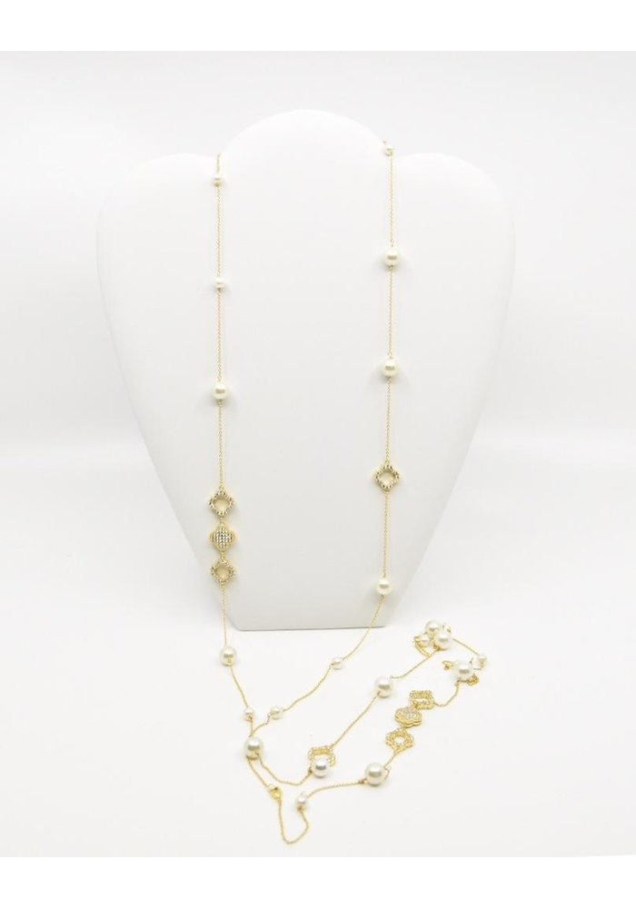 "60"" Gold Tone, Pearl Chain Necklace"