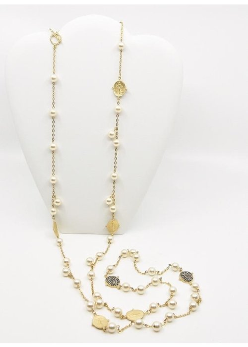 """Be-Je 60"""" Gold Tone, Pearl Chain Necklace 7Oval Disc W/ Standing Lady"""