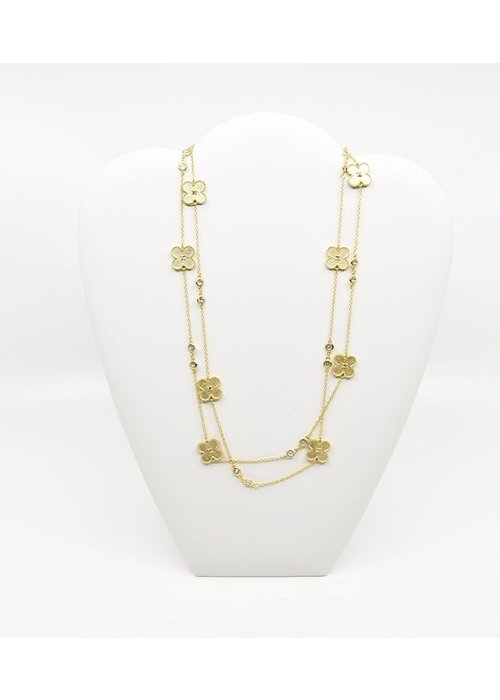 "Costume Jewelry 40"" Gold tone Necklace w/ Clovers and Clear Beads"