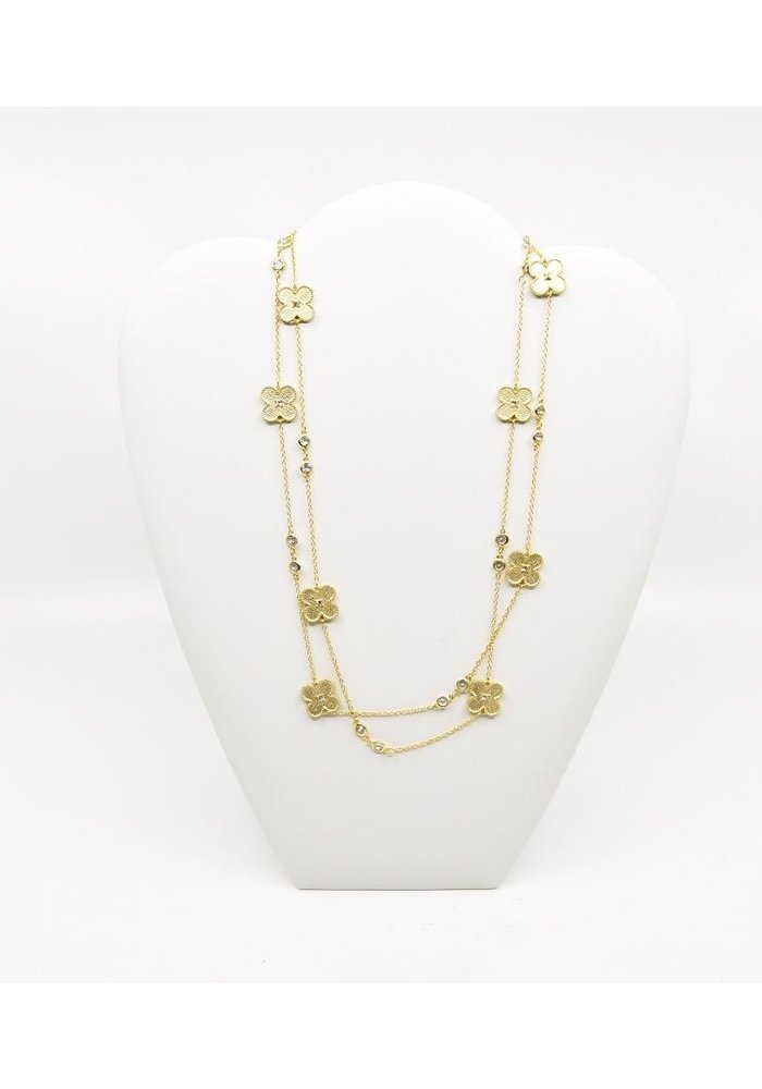 "40"" Gold tone Necklace w/ Clovers and Clear Beads"