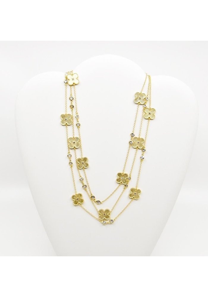 "60"" Gold tone Necklace w/ Clovers and Clear Beads"