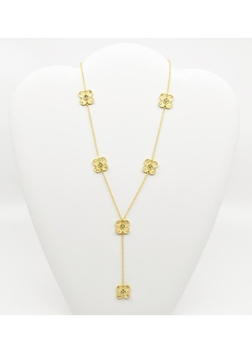Be-Je Be-Je Designs Gold tone Necklace w/Flowers and Clear Beads 16""
