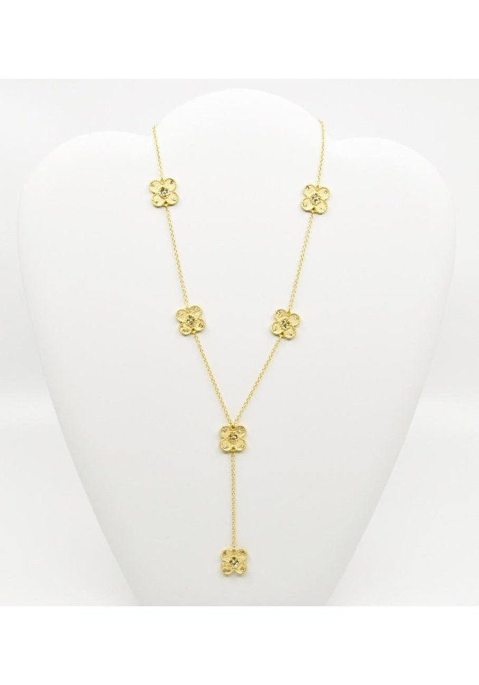"""Be-Je Designs Gold tone Necklace w/Flowers and Clear Beads 16"""""""