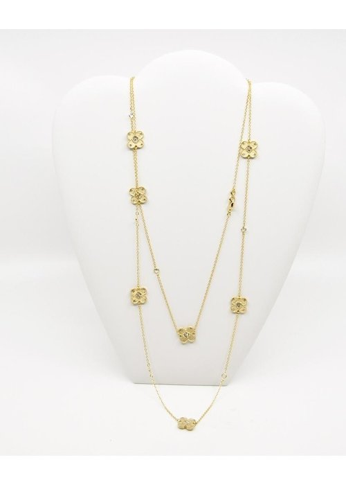 Be-Je Be-Je Designs Gold tone Necklace w/Flowers and Clear Beads 48""