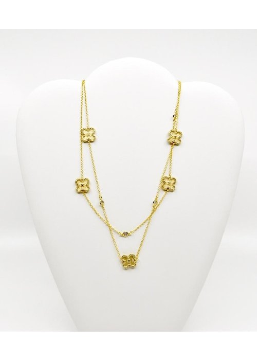 "Be-Je Be-Je Designs 36"" Gold Chain Necklace with CZ Trimmed Clovers with Small Center CZ"