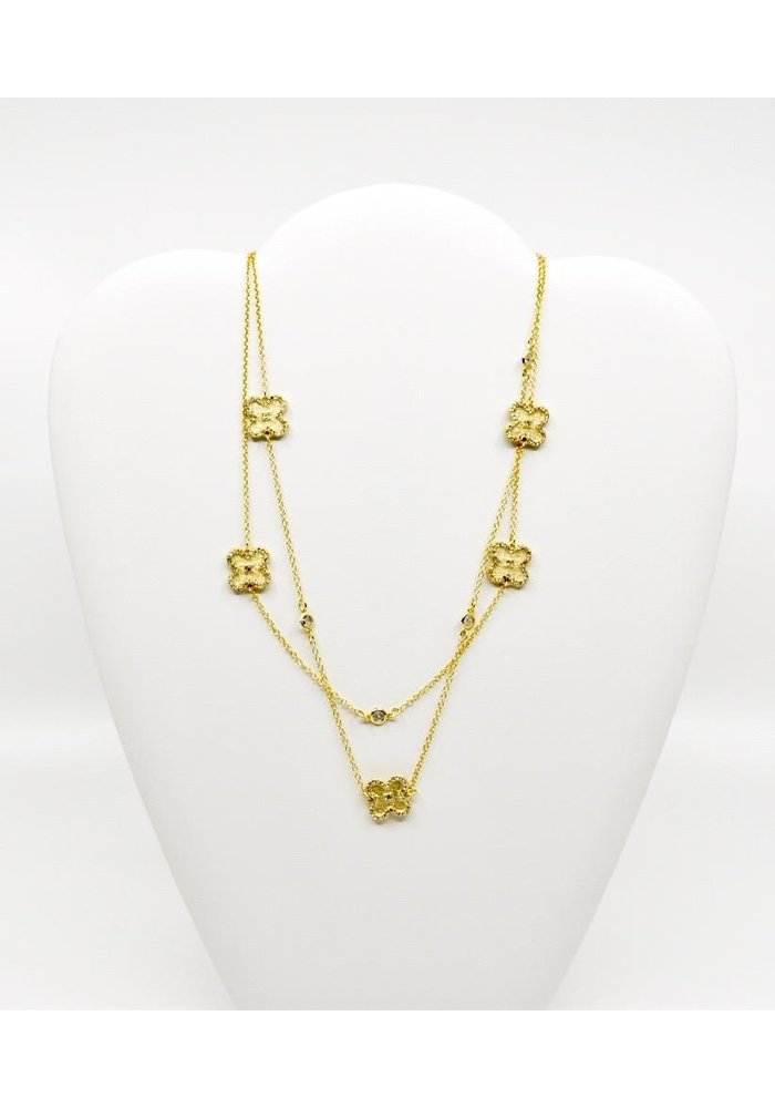 "Be-Je Designs 36"" Gold Chain Necklace with CZ Trimmed Clovers with Small Center CZ"