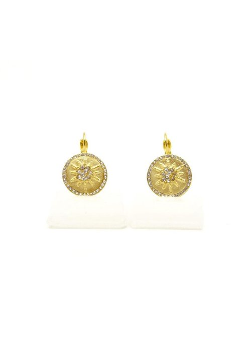 Costume Jewelry BE-JE Gold Round Earring w/Pave Starburst