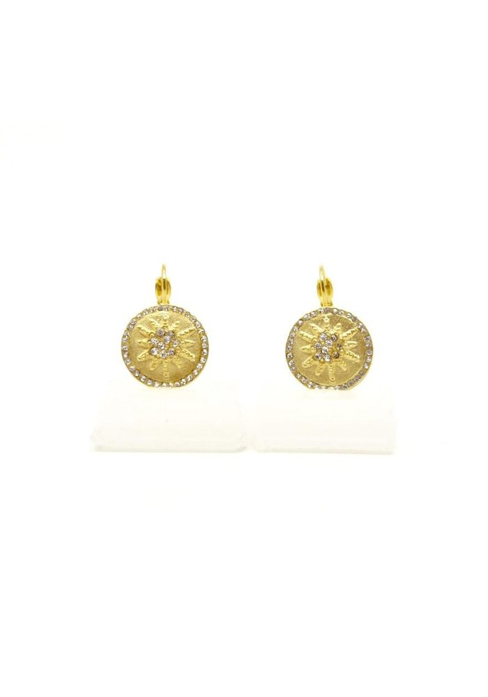 BE-JE Gold Round Earring w/Pave Starburst