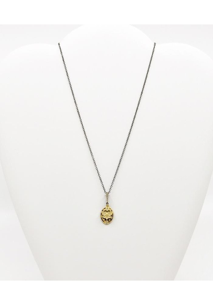 "Be-Je 16"" Black Necklace with Gold Butterfly"