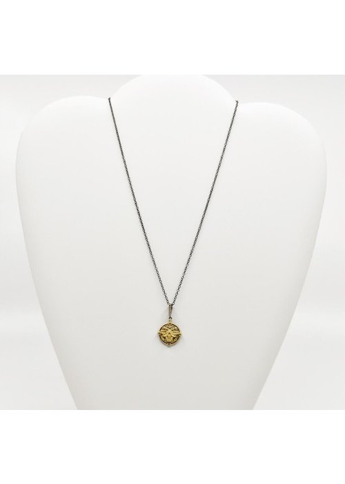 """Be-Je Be-Je 16"""" Black Necklace with Gold Bumble Bee"""