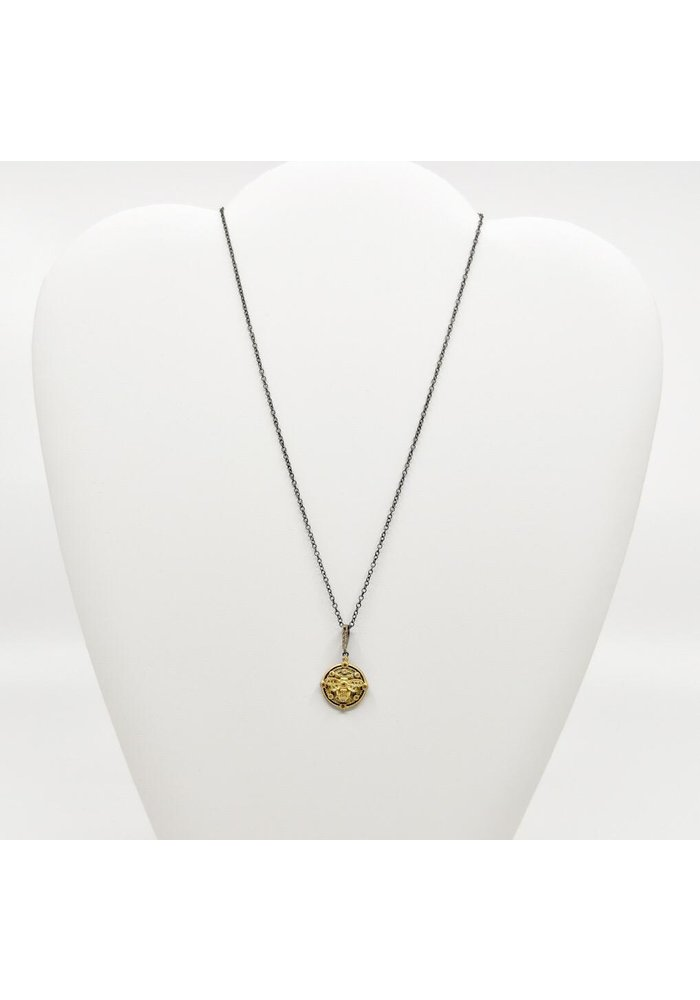 """Be-Je 16"""" Black Necklace with Gold Bumble Bee"""