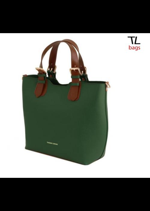 Tuscany Leather Tuscany Leather Saffiano Leather Tote, Green, O/S