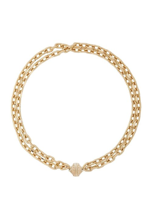 """Clara Williams """"Sheridan"""" 14KGP Double Strand Necklace-16.5"""" w/Plated Signature Clasp"""