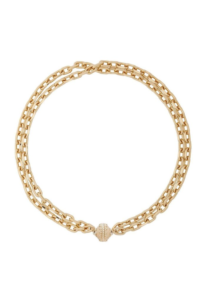 """""""Sheridan"""" 14KGP Double Strand Necklace-16.5"""" w/Plated Signature Clasp"""