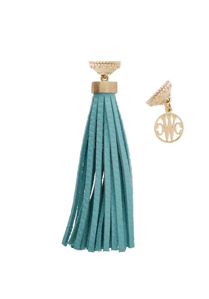 Baja Teal Leather Tassel, Plated YG Signature Clasp