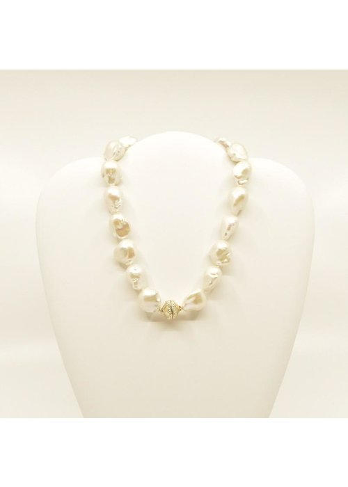 """Clara Williams Freshwater white cultured baroque pearl necklace, 1 strand, 16.5"""""""