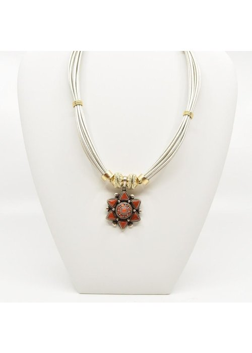 Clara Williams Tibetan Treasures Sterling Silver and Red Coral Star Medallion Centerpiece