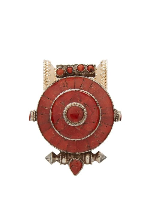 Clara Williams Tibetan Treasures Red Coral and Sterling Silver Medallion Centerpiece